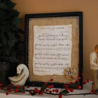 Vintage Sheet Music and Burlap