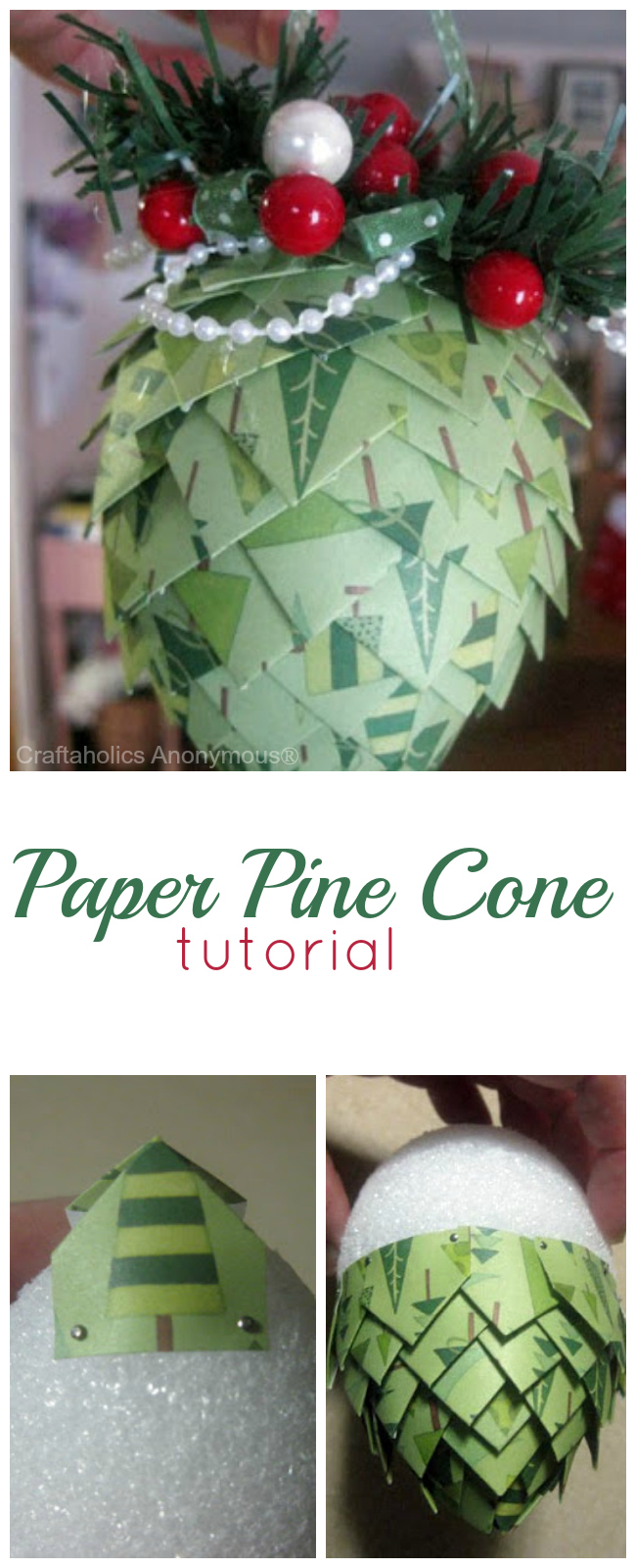 paper pine cone tutorial. These are great for ornaments, garlands, or gift toppers!