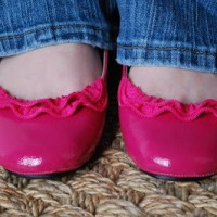 introducing zipper ruffle flats in HOT PINK