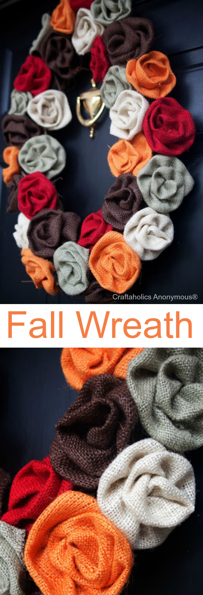 burlap rosette fall wreath. Love the colored burlap!