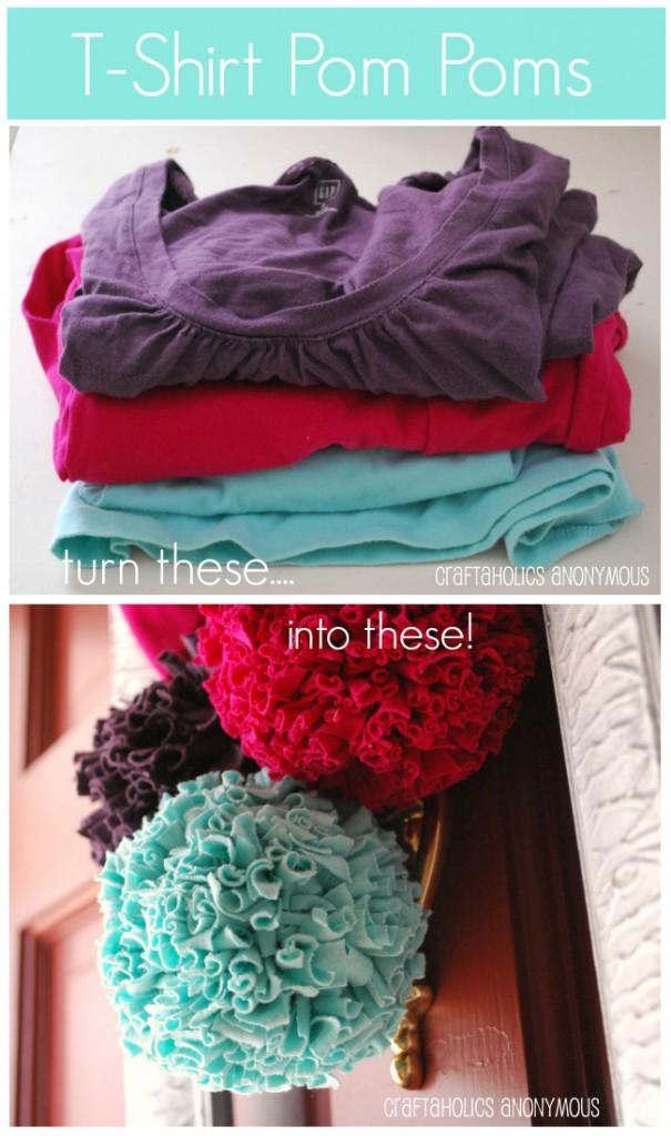 Turn old t-shirts into pretty pom poms!