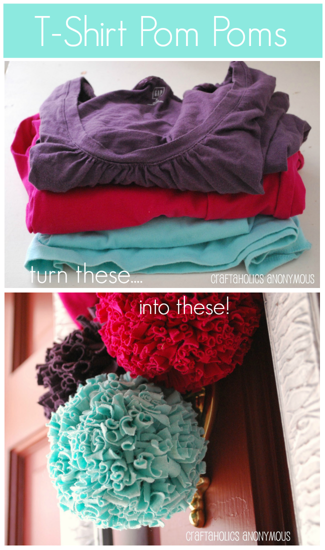 Turn old t-shirts into pretty pom poms!