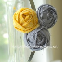 yellow+gray rosette headband