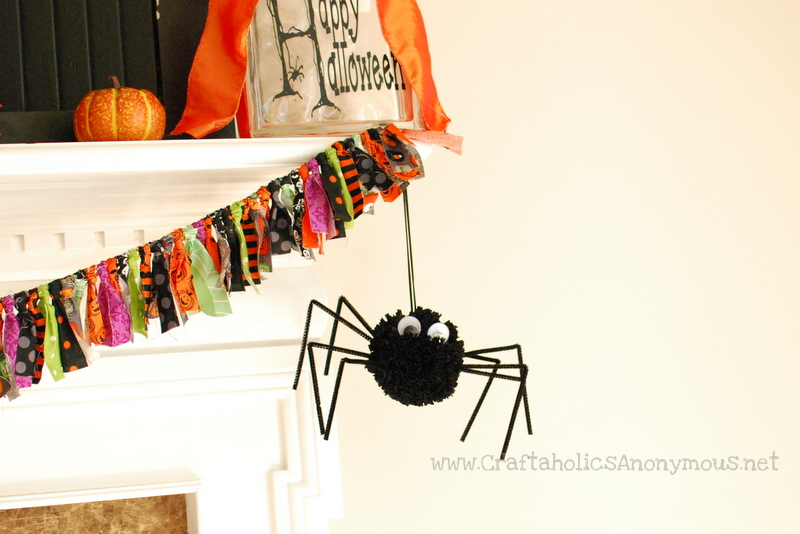pom pom, spider, halloween, craft,