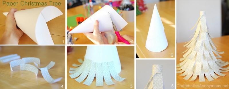 how to make an easy paper christmas tree