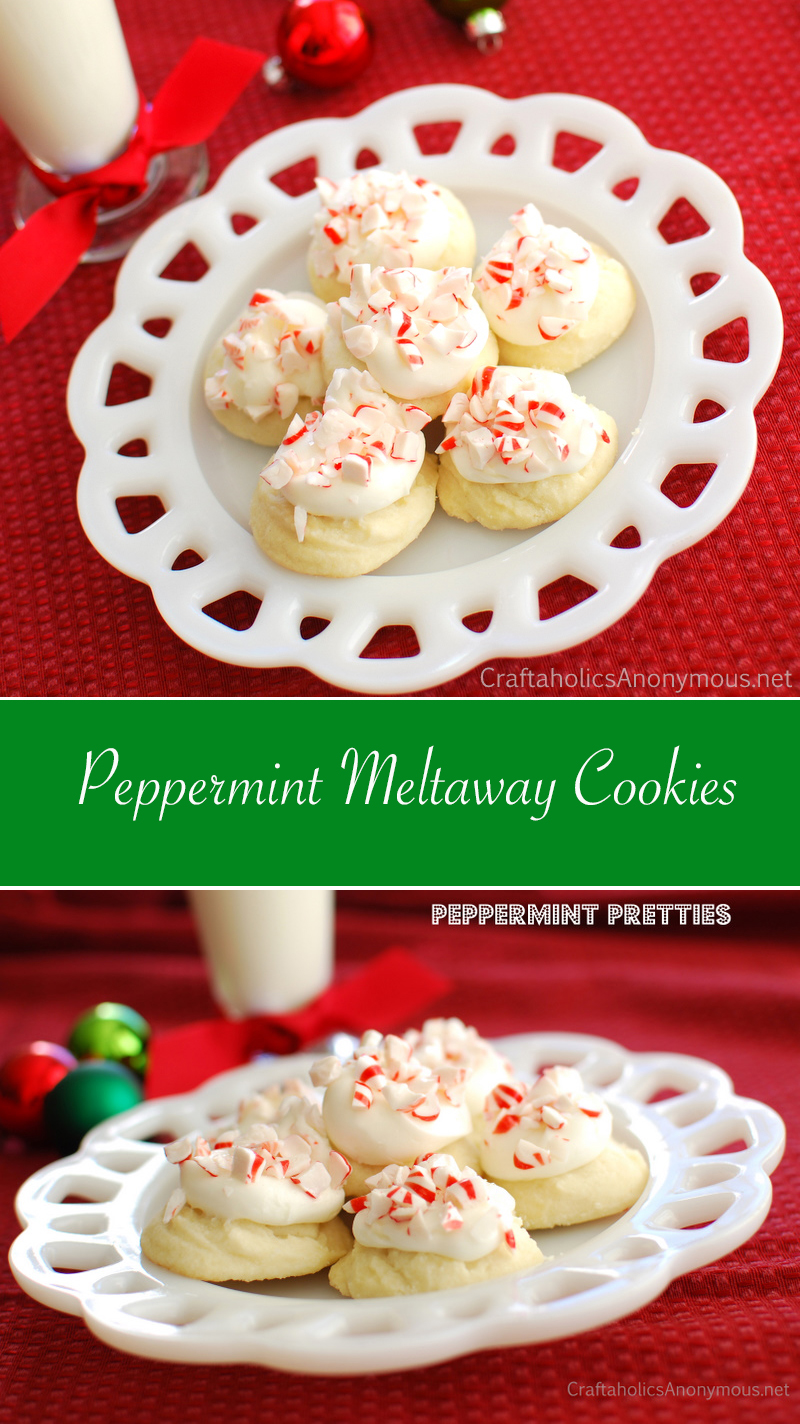 Yummy Peppermint Melt-away Cookies recipe. Sweet, light, and peppermint-y with crushed candy canes on top. A favorite cookie recipe for cookie swaps!