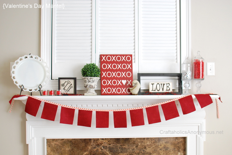 mantel decorated for valentine's day
