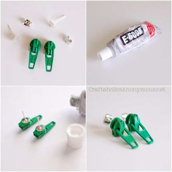 diy zipper earrings