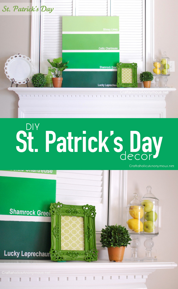 DIY St. Patrick's Day mantel and decor || Paint chip art