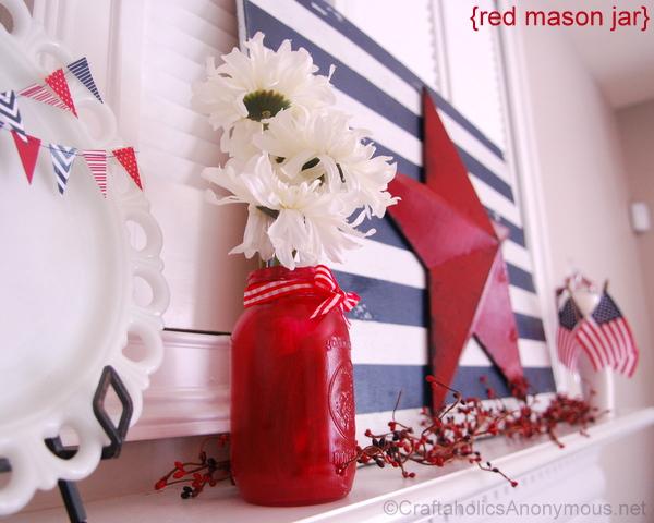 red mason jar