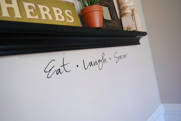 dining room vinyl saying