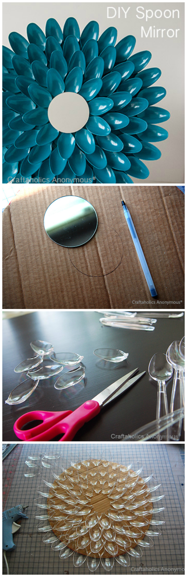 spoon mirror tutorial. Costs only $3 dollars to make, turns out stunning!
