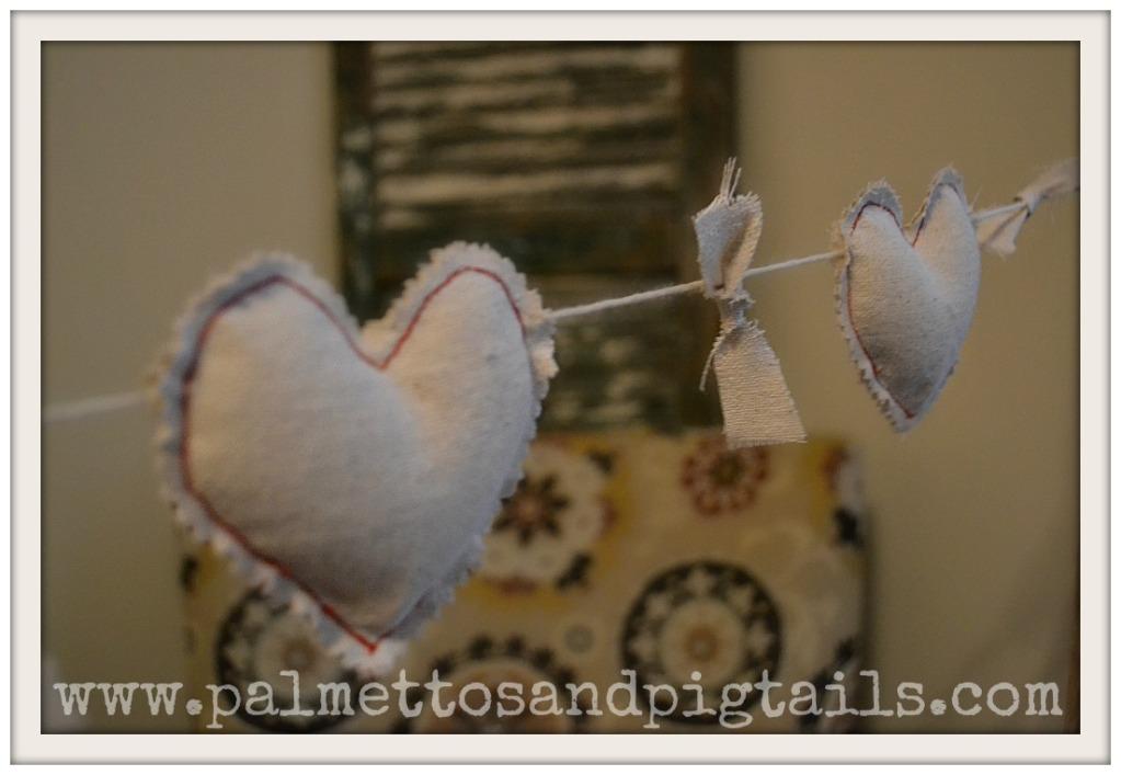 canvas heart garland
