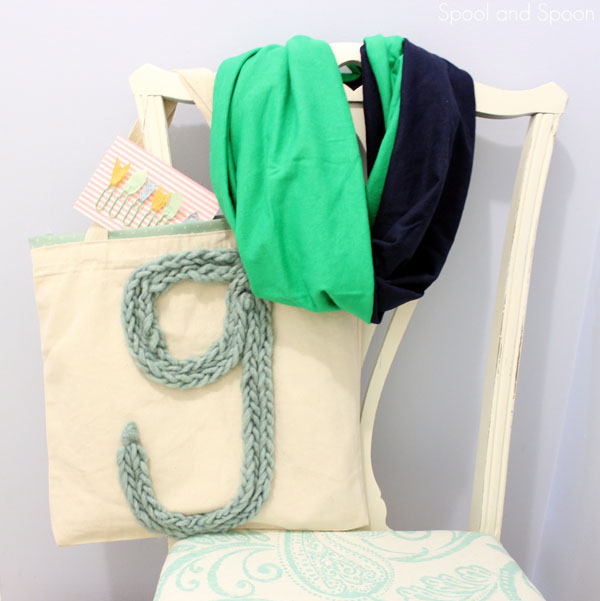 scarf and carry-all bag