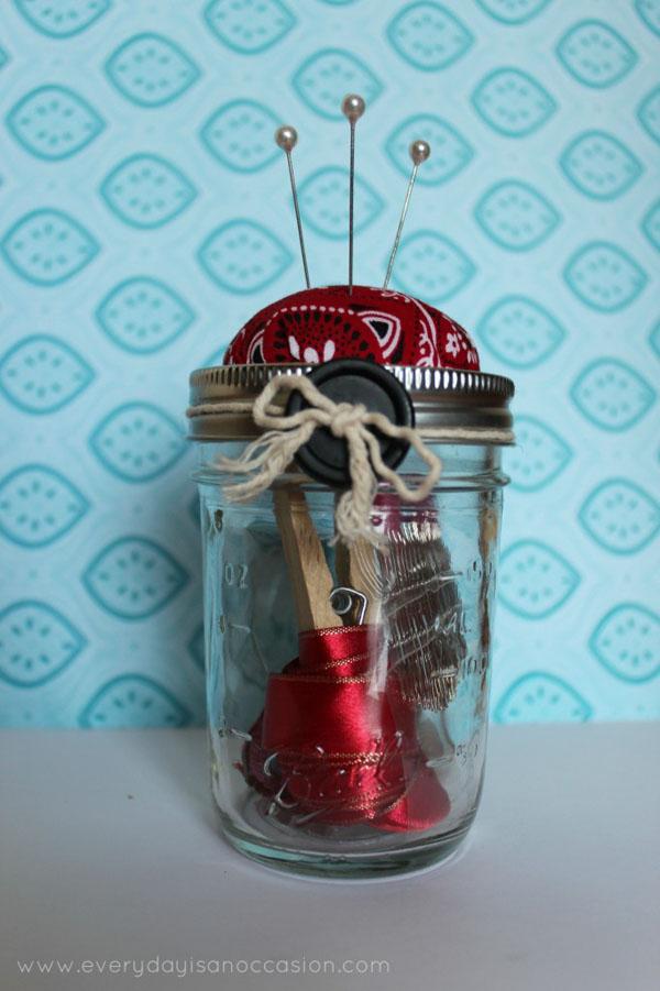 pin cushion sewing kit mason jar