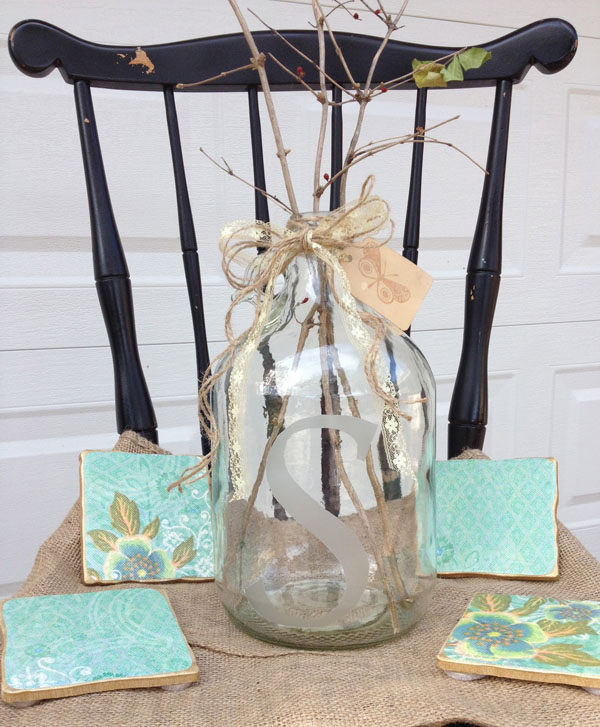 coasters and etched glass jar
