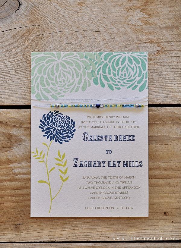 handmade wedding invite