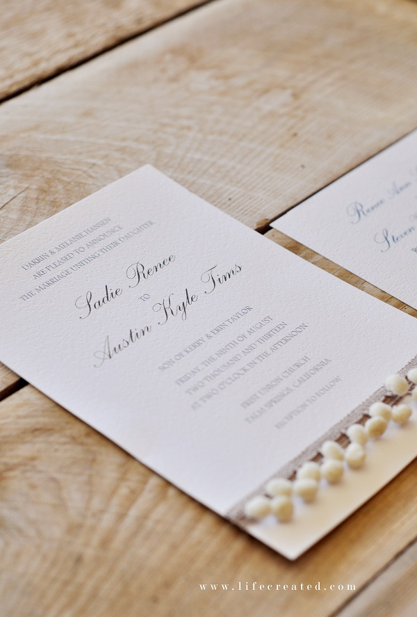 handmade wedding invites