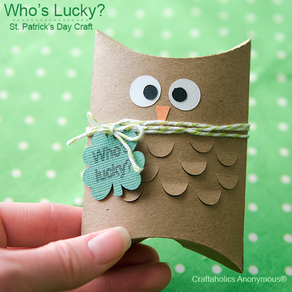 St patricks day owl gift idea || Whooooo's lucky? Tuck chocolate coins inside the box for a fun treat!