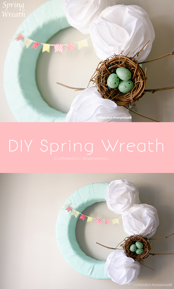 Pretty DIY Spring Wreath with Washi Tape bunting and fluffy white flowers