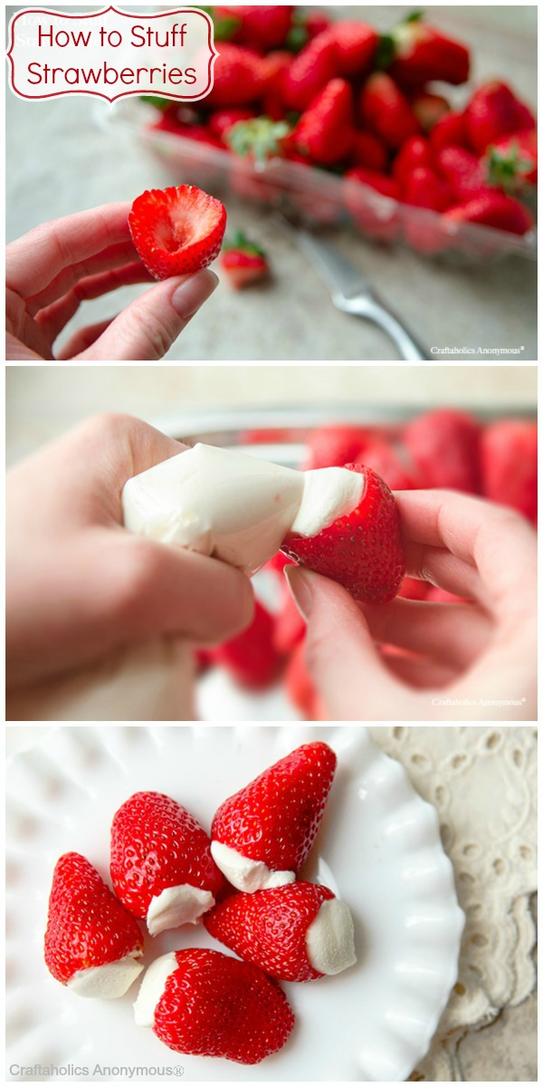 Cheesecake Stuffed Strawberries. These are delicious! And so easy to eat. Perfect for a party or gathering.