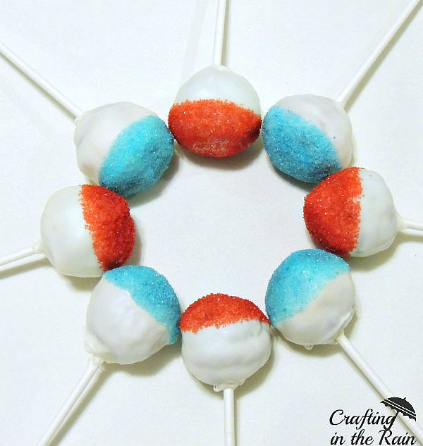 red white and blue cake pops