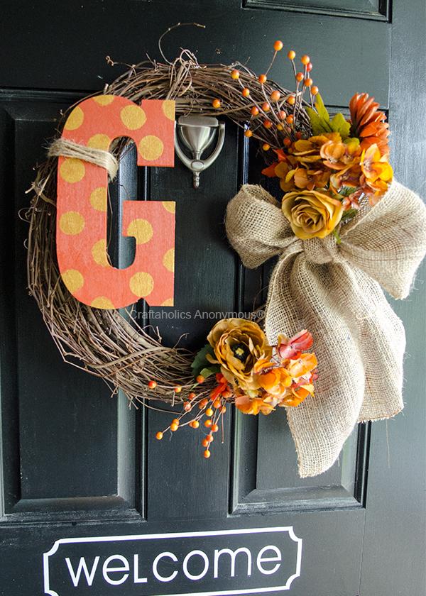 Craftaholics Anonymous 174 Monogram Fall Wreath