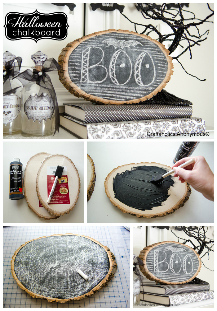 how to make a wood slice chalkboard