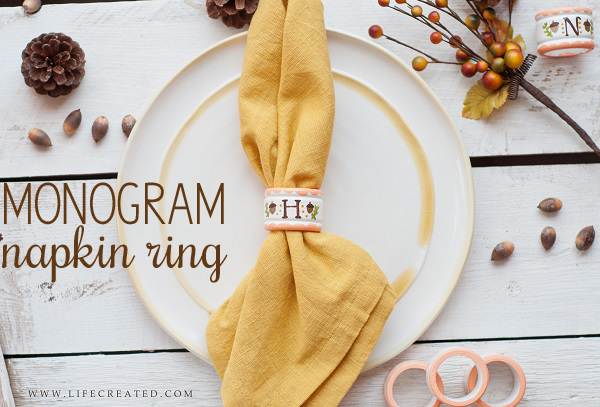 A monogrammed napkin ring tutorial will add the perfect personal touch to your fall tablescape!