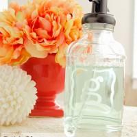 Monogram Glass Etched Soap Dispenser