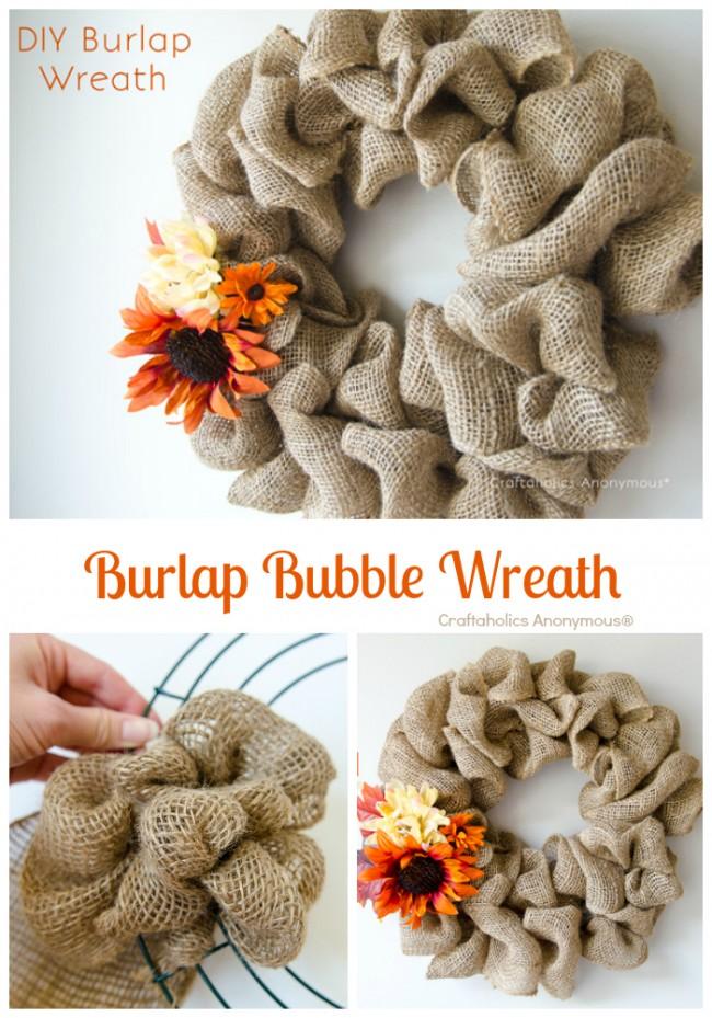 burlap wreath collage