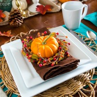 Turquoise + Orange Fall Tablescape & a Giveaway