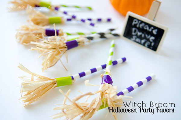 witch broom halloween party favors