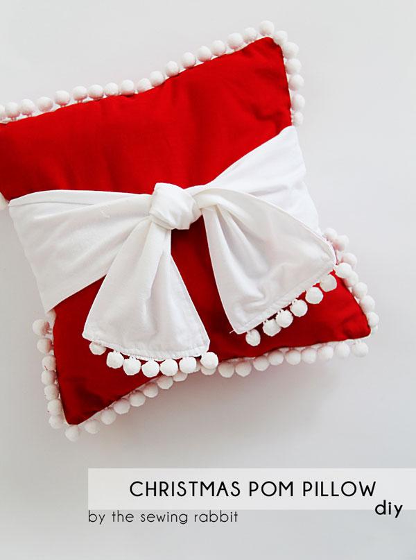 how to sew a pom pom pillow