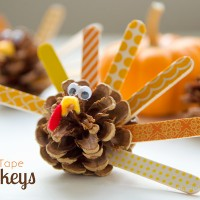 Washi Tape Pinecone Turkeys Tutorial