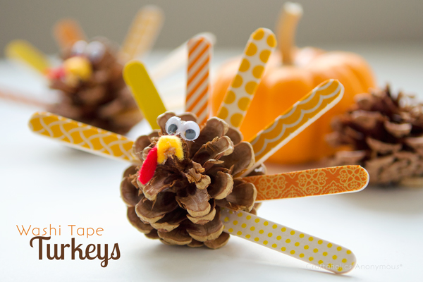 washi tape pinecone turkeys