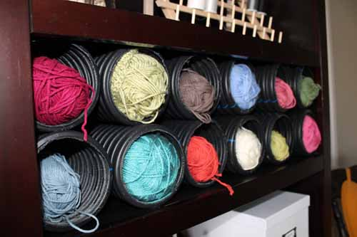 Use a french drain for yarn storage! Cheap and easy storage solution - find more ideas at craftaholicsanonymous.net