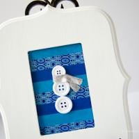 Cute Button Snowman Frame