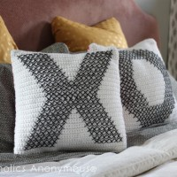 DIY Crochet and Cross-Stitch Valentine Pillows
