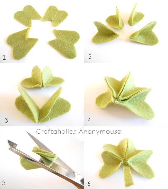 how to make felt shamrocks on Craftaholics Anonymous