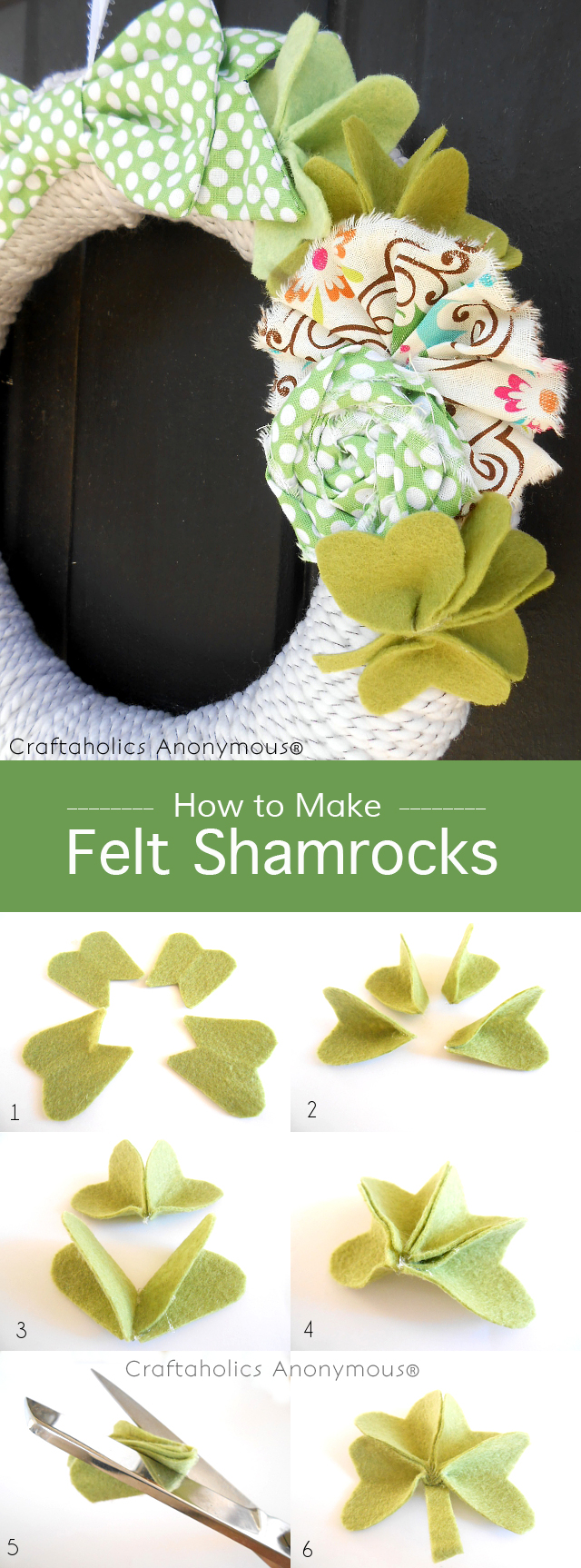 How to Make Felt Shamrocks + DIY St. Patrick's Day wreath