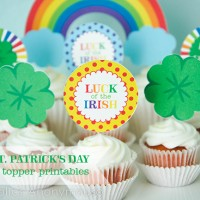 St. Patrick's Day Rainbow Cupcake Toppers Printable