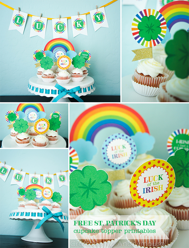 St. Patrick's Day Rainbow cupcake toppers