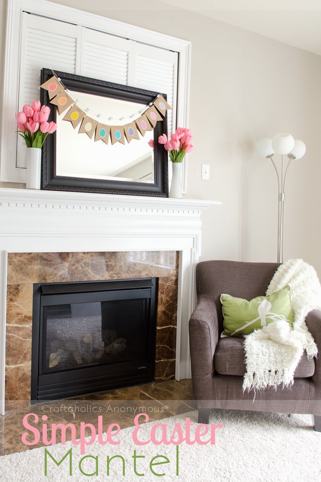 easter mantel with color banner