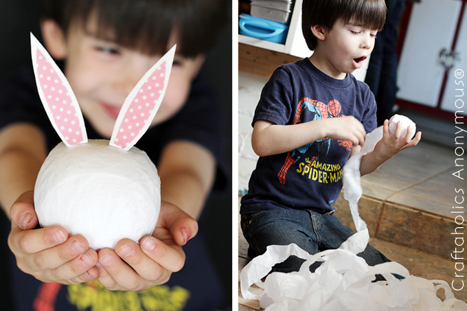 easter craft. Bunny surprise balls filled with non-candy items. Cool idea!