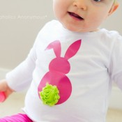 Cutest Easter Bunny shirt! Love how she used a rosette flower for the tail.