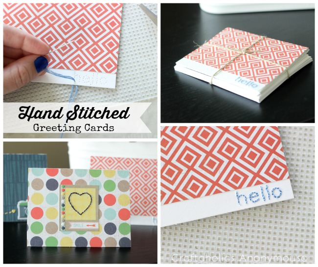 hand-stitched greeting cards + free printable template