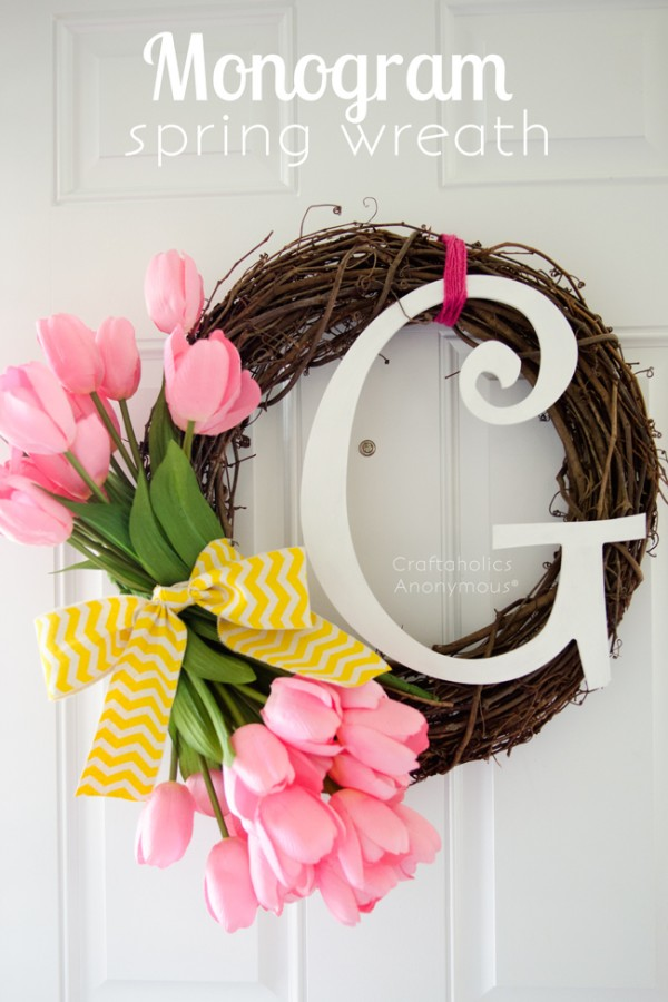 monogram floral spring wreath