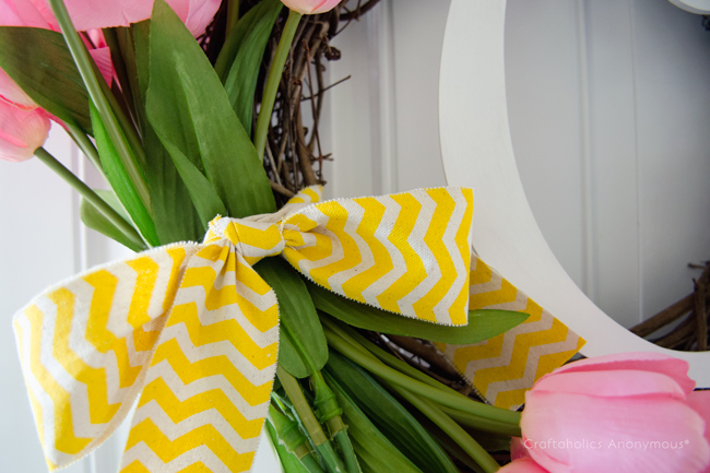 love this yellow chevron ribbon on a Spring Wreath!