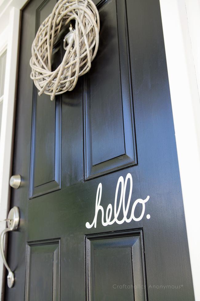 Front Door Vinyl Hello decal. Love this instead of 'welcome'!